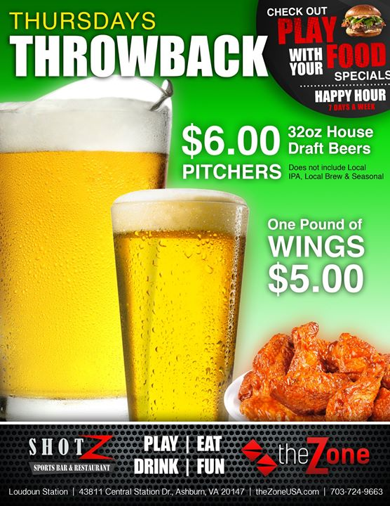 Celebrate THROWBACK THURSDAYS at the Zone! Get $6 Pitchers and 1 Pound of Wingsfor…