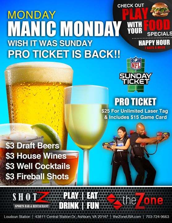 Take advantage of our MANIC MONDAY SPECIALS Get a $15 Game Card and Unlimited…