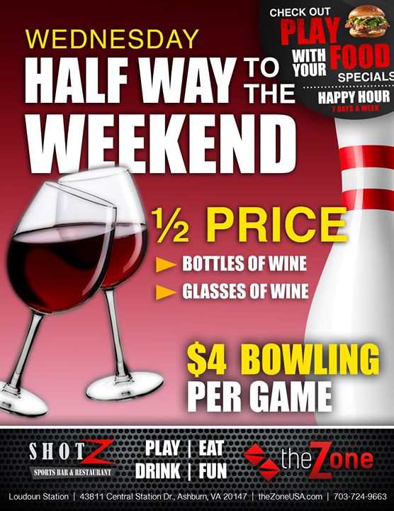 We're HALF-WAY to the CHEERS! Each Wednesday Enjoy: Half Off ALL Bottles of Wine.…