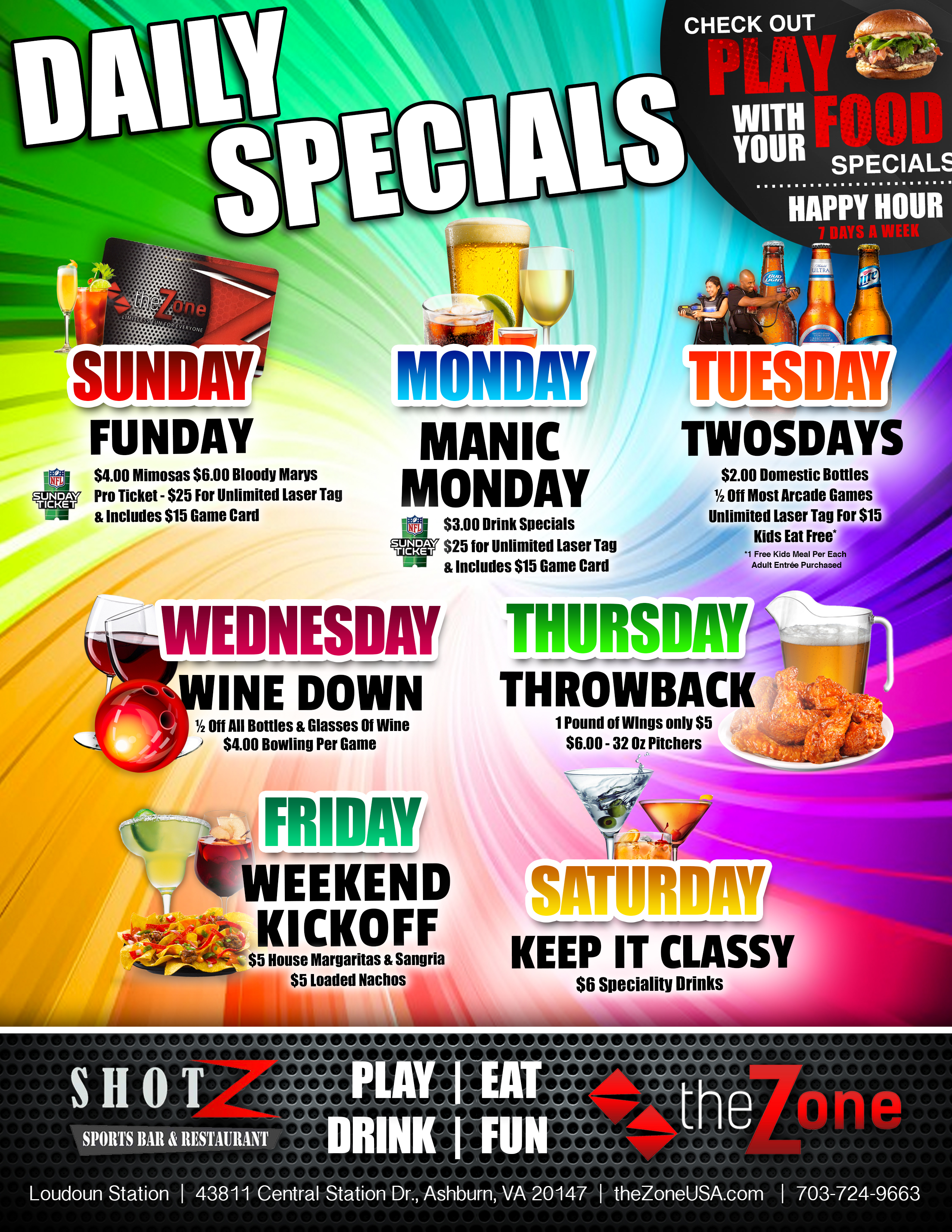 Daily Specials The Zone Restaurant And Bar In Ashburn Va